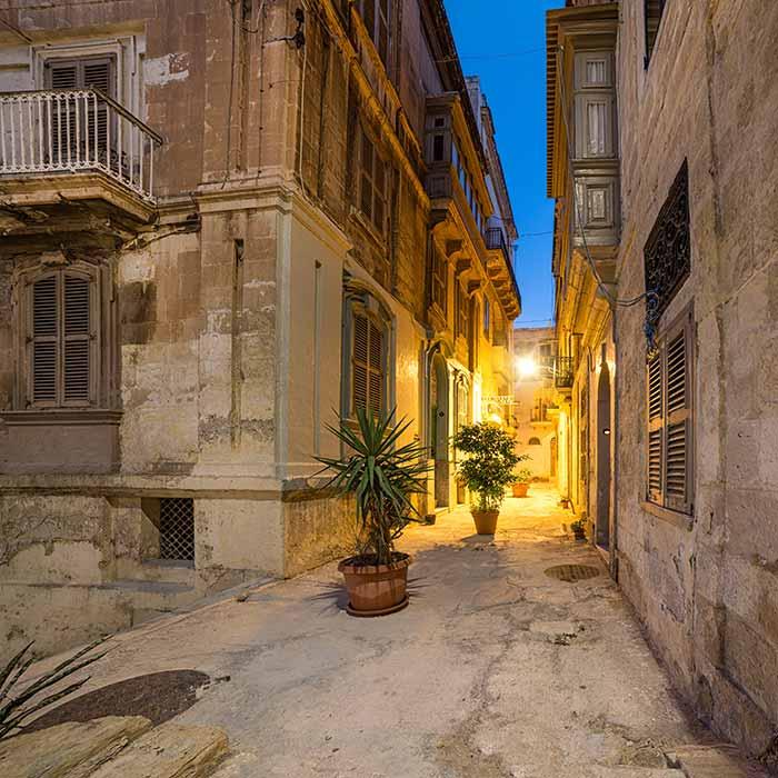 Antiche strade in Vittoriosa a Malta