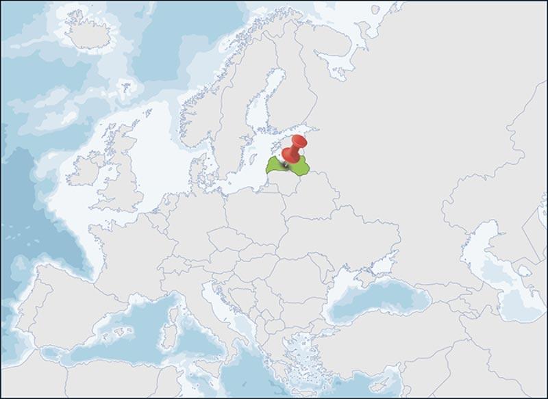 La posizione della Lettonia in Europa