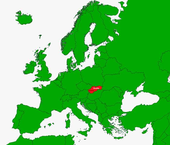 La situazione della Slovacchia in Europa