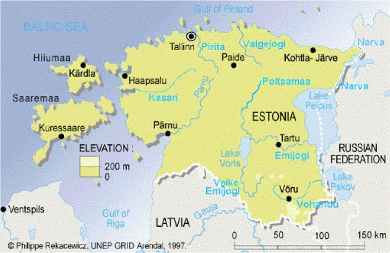 Mappa dei fiumi dell'Estonia