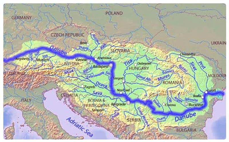 Mappa dei fiumi austriaci