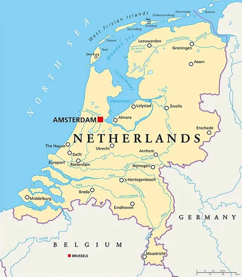 Olanda Cartina Stradale.Cartina Dei Paesi Bassi Scarica Cartina Dei Paesi Bassi In Hd Dati Da Europa