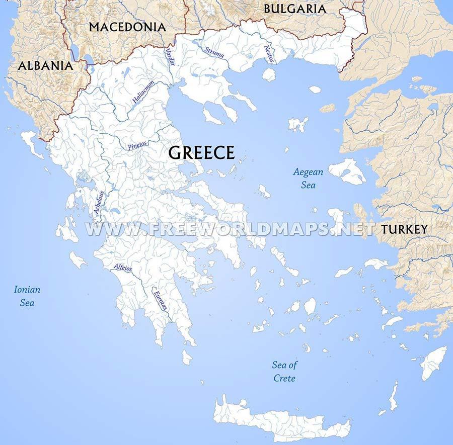 Mappa dei fiumi della Grecia