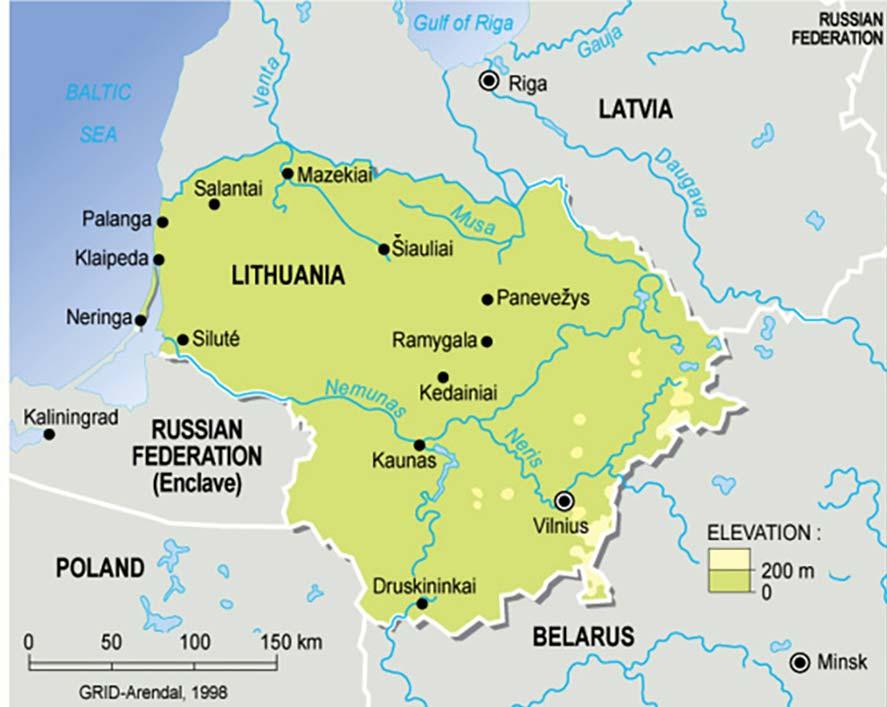 Mappa dei fiumi della Lituania