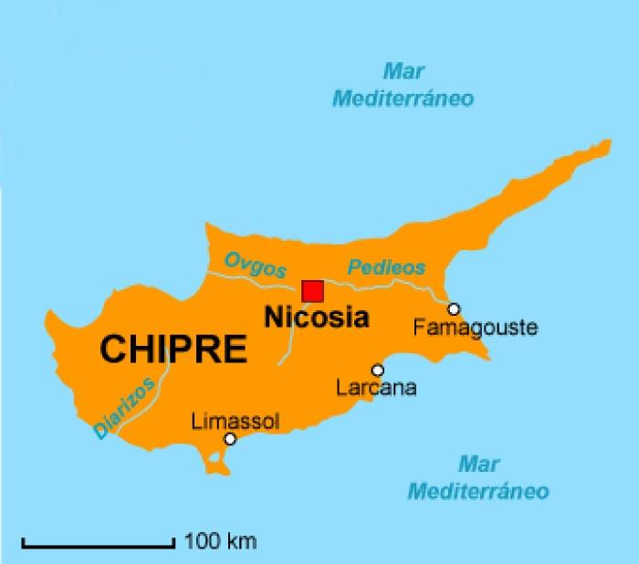 Mappa dei fiumi di Cipro