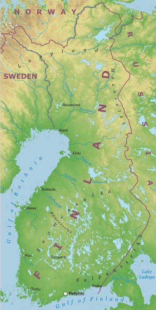 Mappa dei fiumi in Finlandia