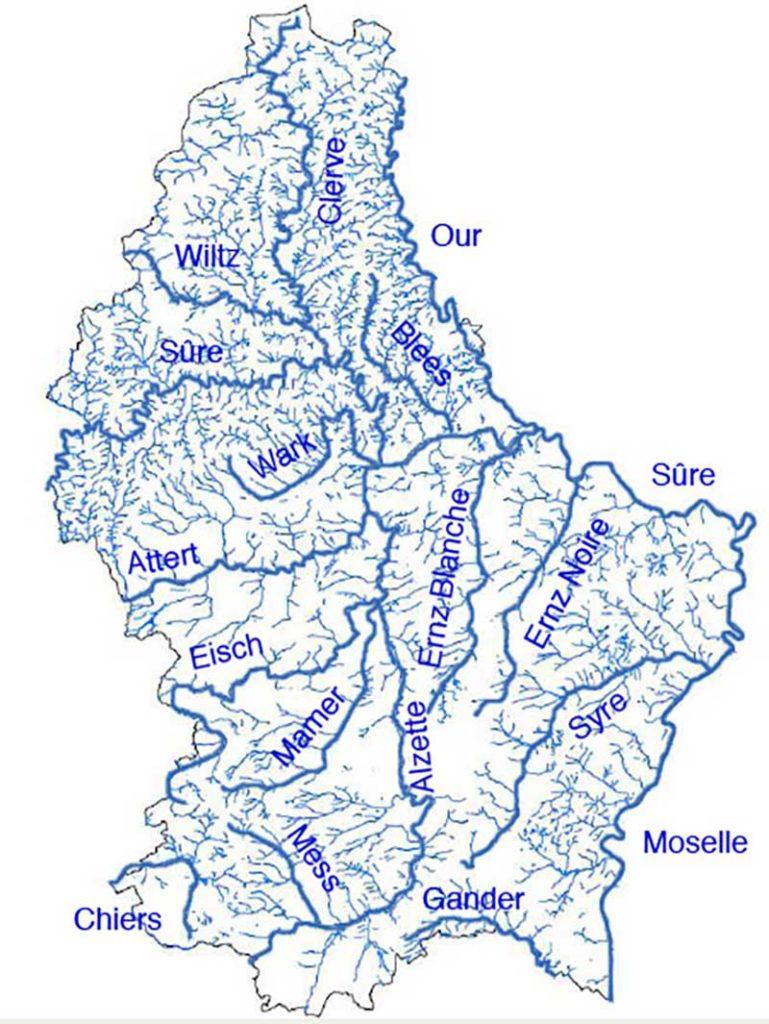 Mappa dei fiumi in Lussemburgo