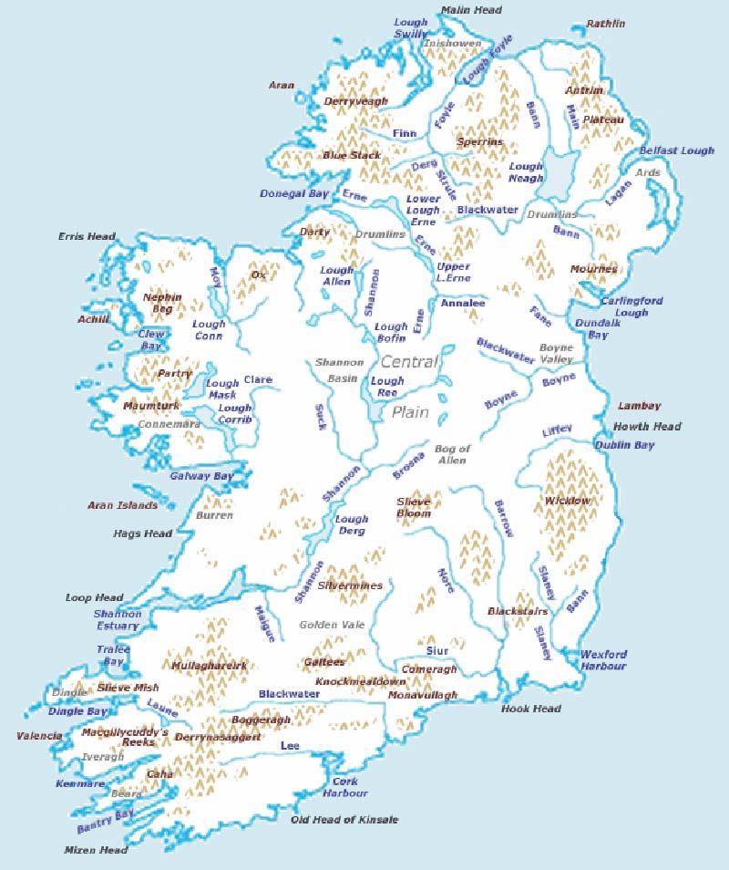 Mappa dei fiumi irlandesi