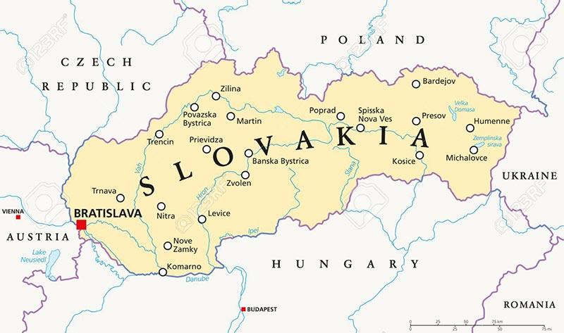 Mappa dei fiumi più importanti della Slovacchia