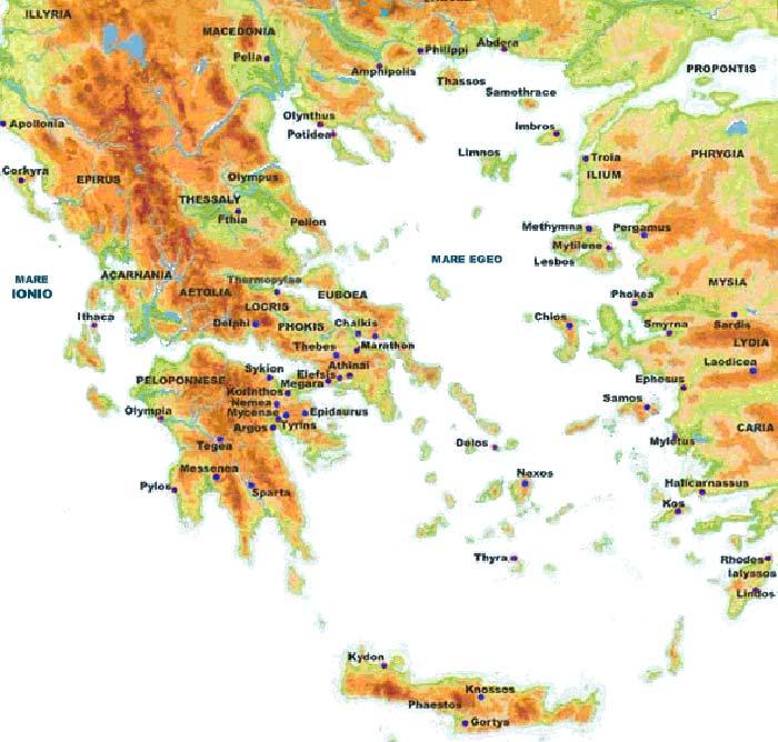 Mappa delle montagne più importanti della Grecia