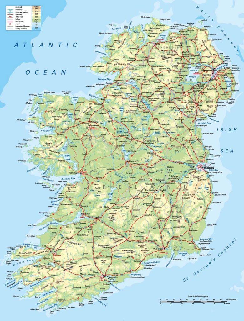Mappa delle montagne più importanti d'Irlanda