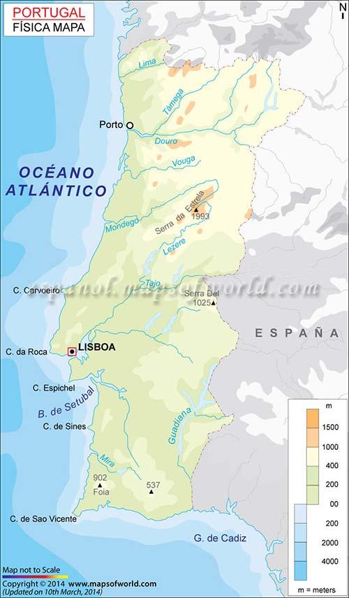 Mappa delle montagne più importanti di Portogallo