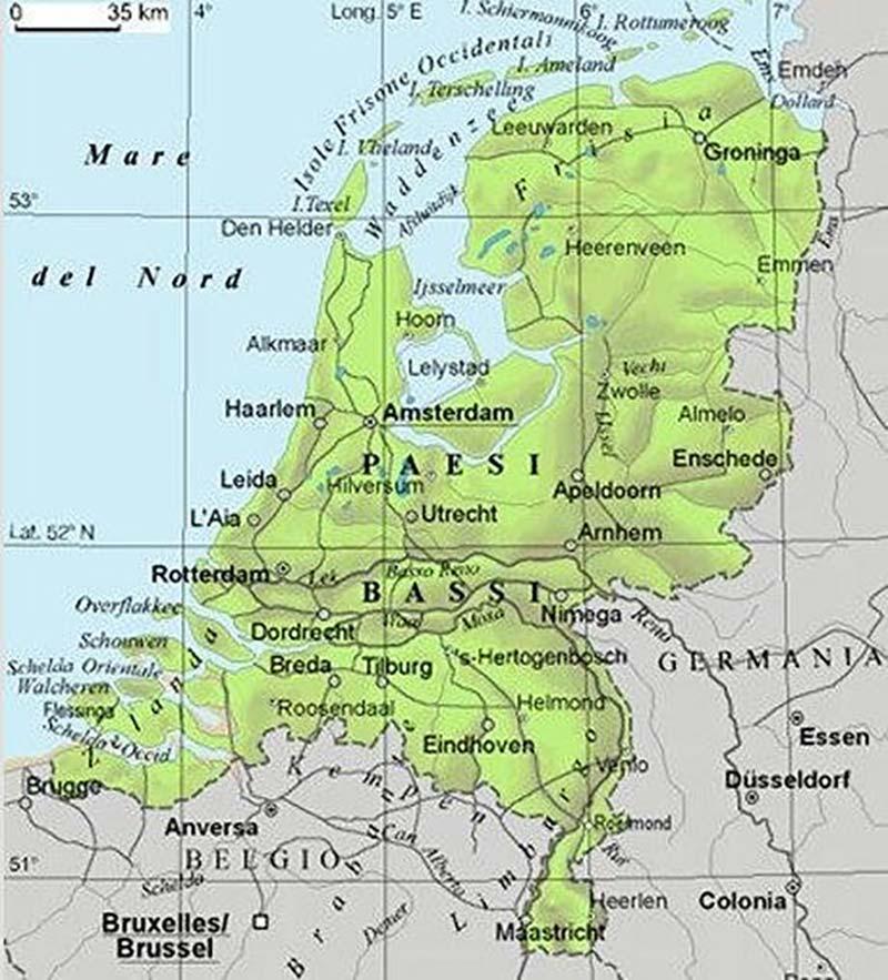 Mappa geografica dei Paesi Bass