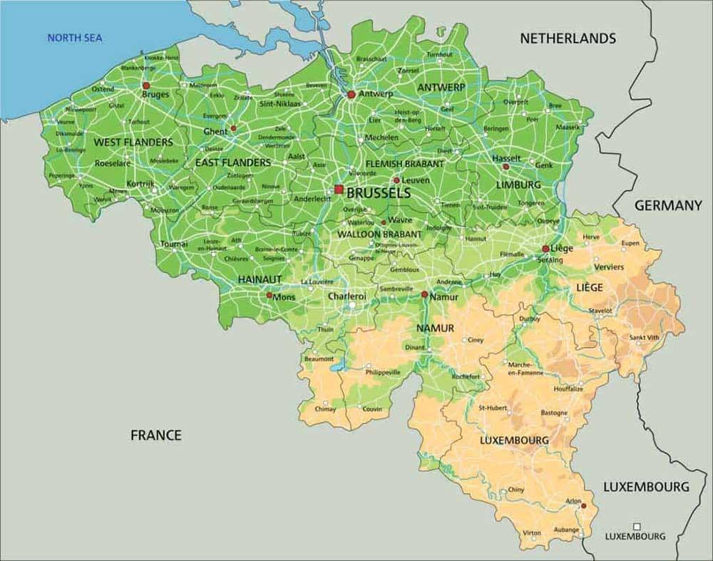 Mappa geografica del Belgio