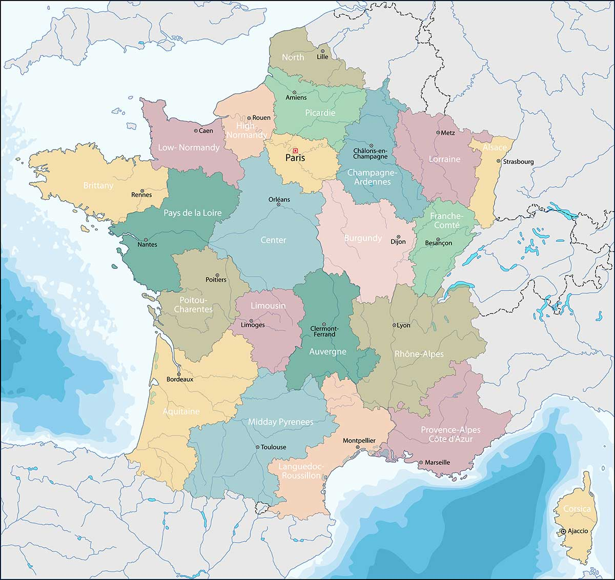 Cartina Politica Di Parigi.Cartina Della Francia Scarica Cartina Della Francia In Alta Qualita Dati Da Europa