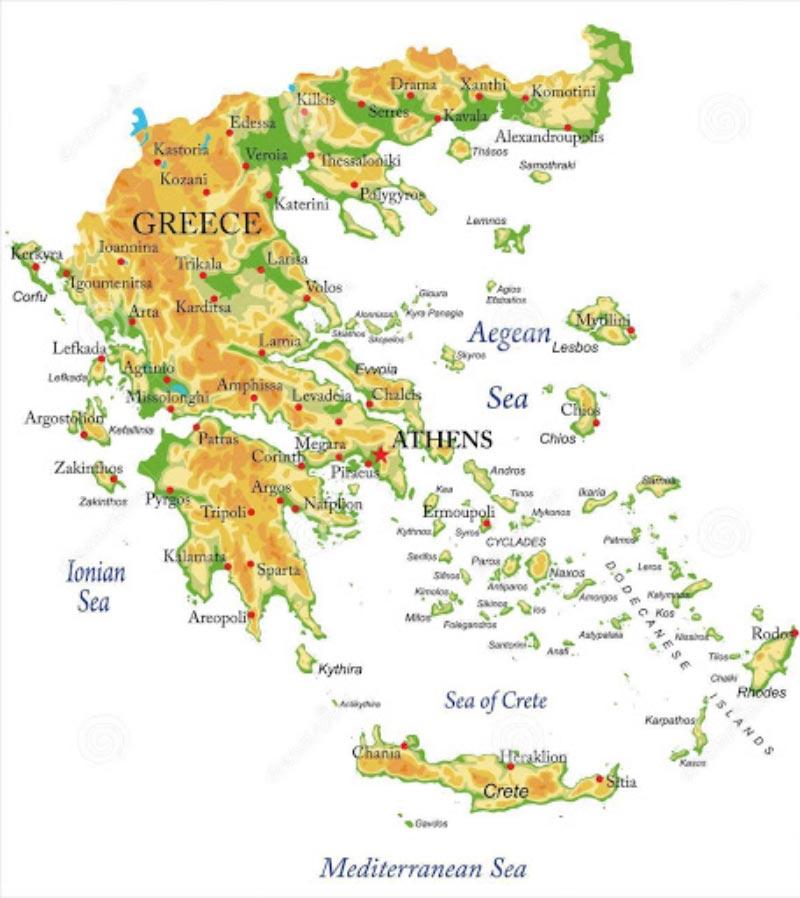 Mappa geografica della Grecia