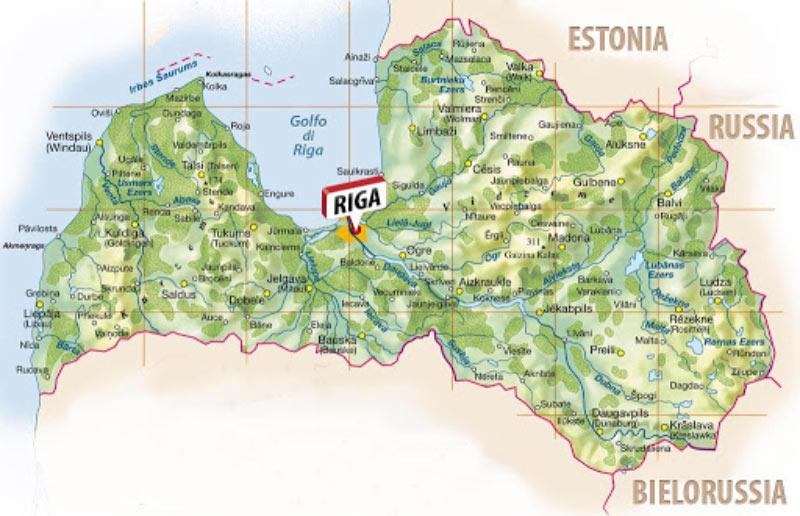 Mappa geografica della Lettonia