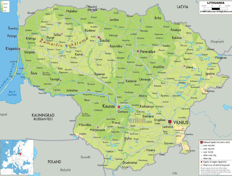 Cartina Europa Orientale Fisica.Cartina Della Lituania Scarica Cartina Della Lituania In Alta Qualita Dati Da Europa