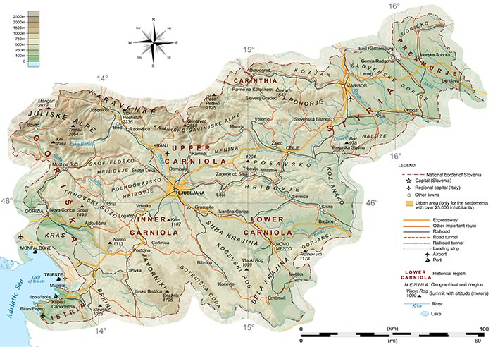 Mappa geografica della Slovenia