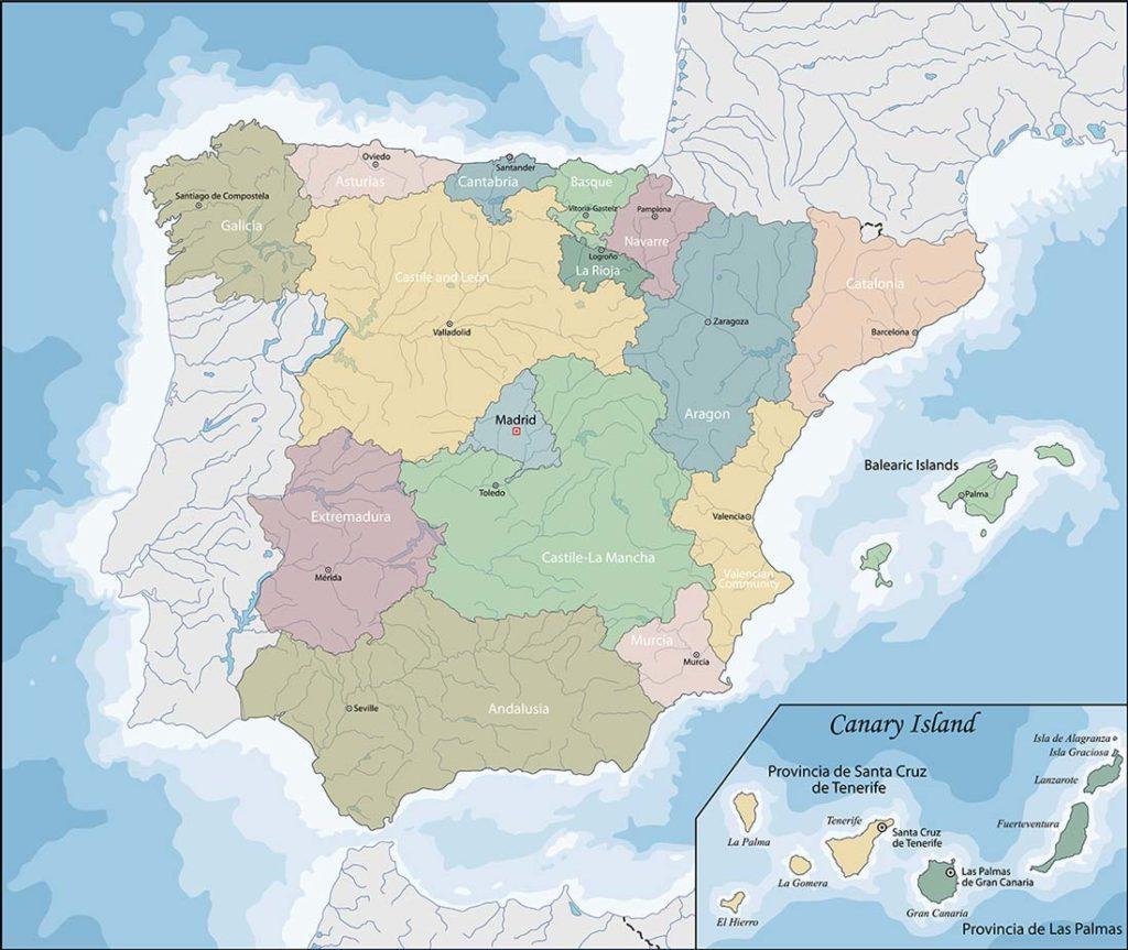 Mappa geografica della Spagna