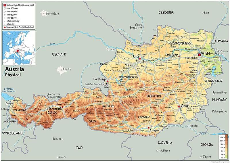 Mappa geografica di Austria