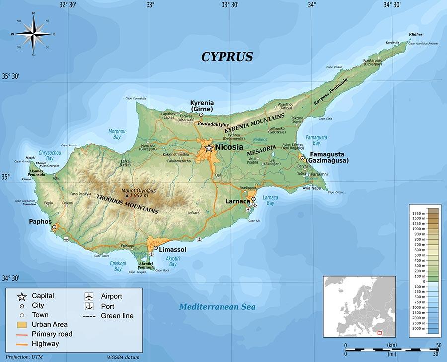 Mappa geografica di Cipro