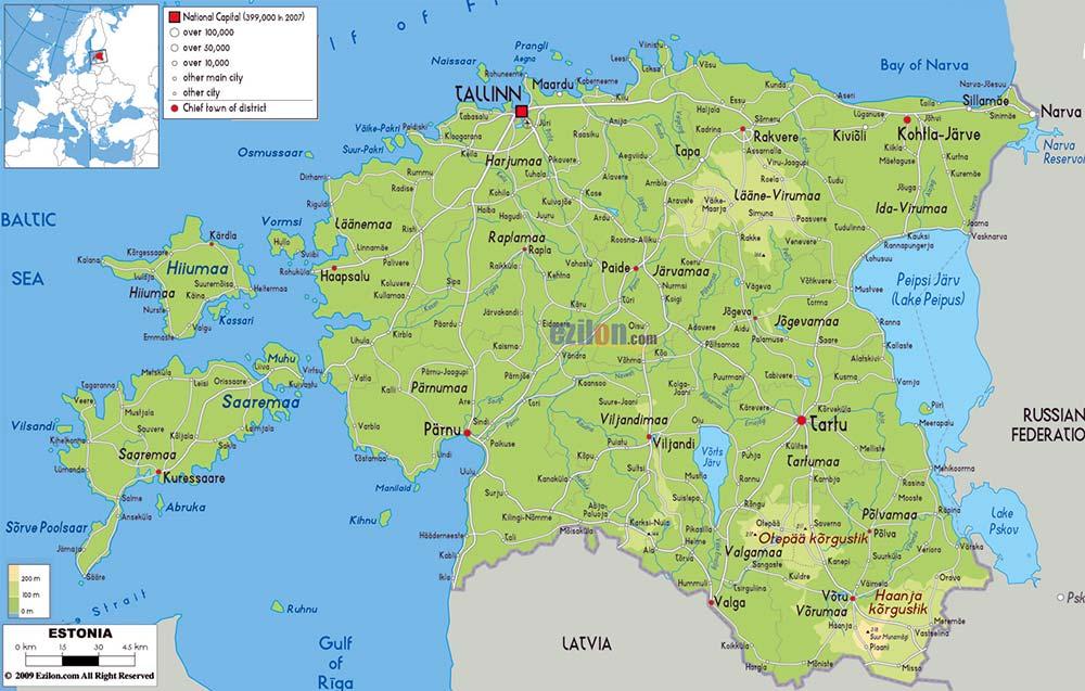 Mappa geografica di Estonia