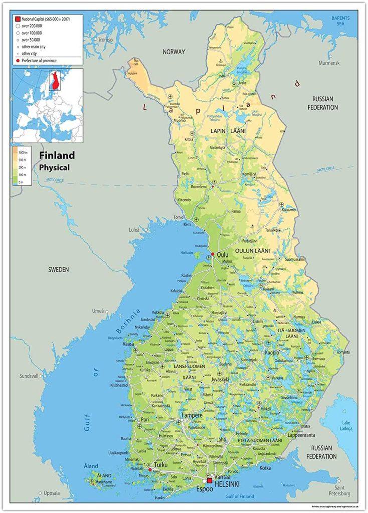 Mappa geografica di Finlandia