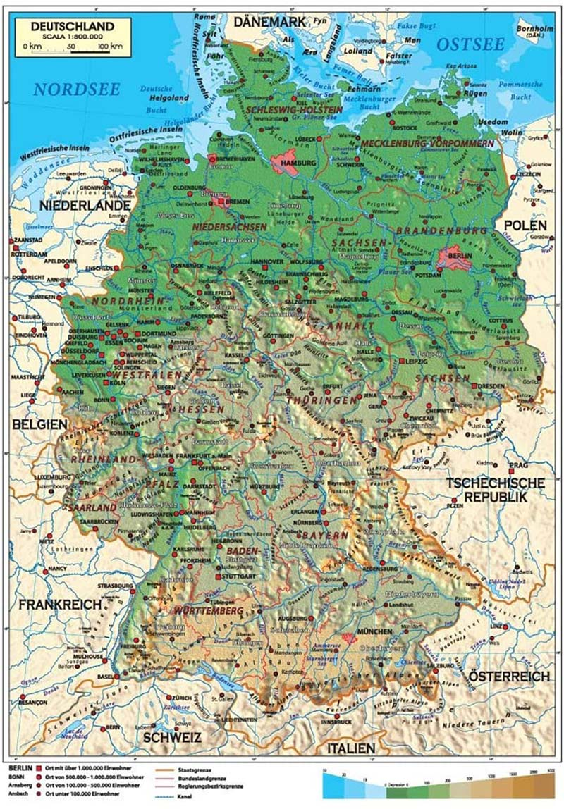 Fiumi Germania Cartina.Cartina Della Germania Scarica Cartina Della Germania In Hd Dati Da Europa