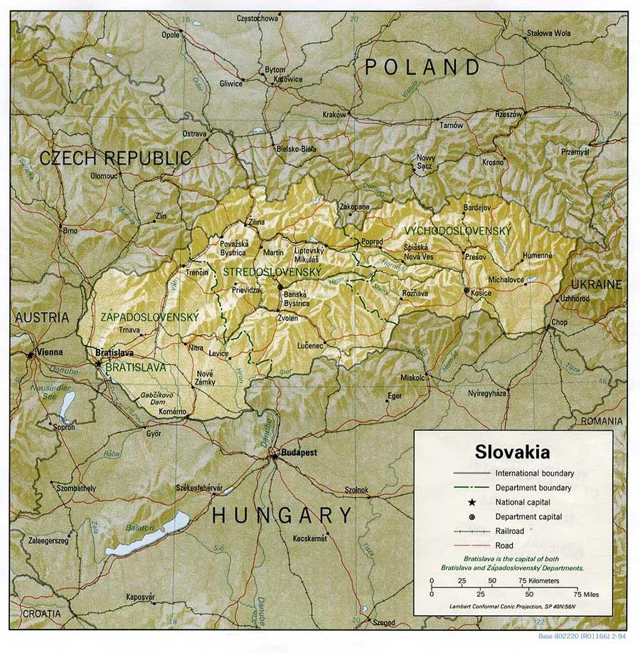 Mappa delle montagne più importanti della Slovacchia