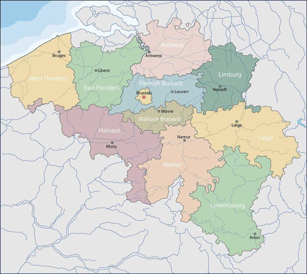 Mappa politica del Belgio