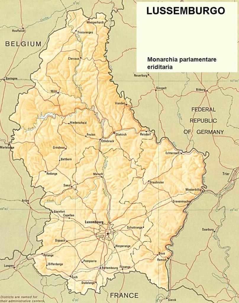 Mappa geografica di Lussemburgo