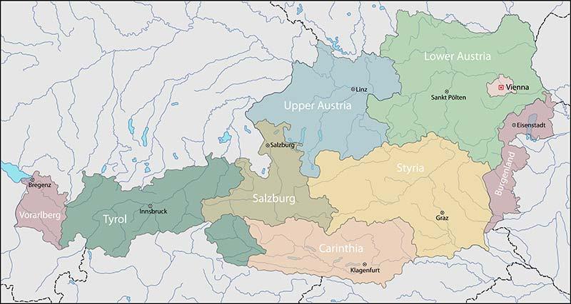 Svizzera Cartina Geografica Politica.Cartina Di Austria Scarica Cartina Di Austria In Alta Qualita Dati Da Europa