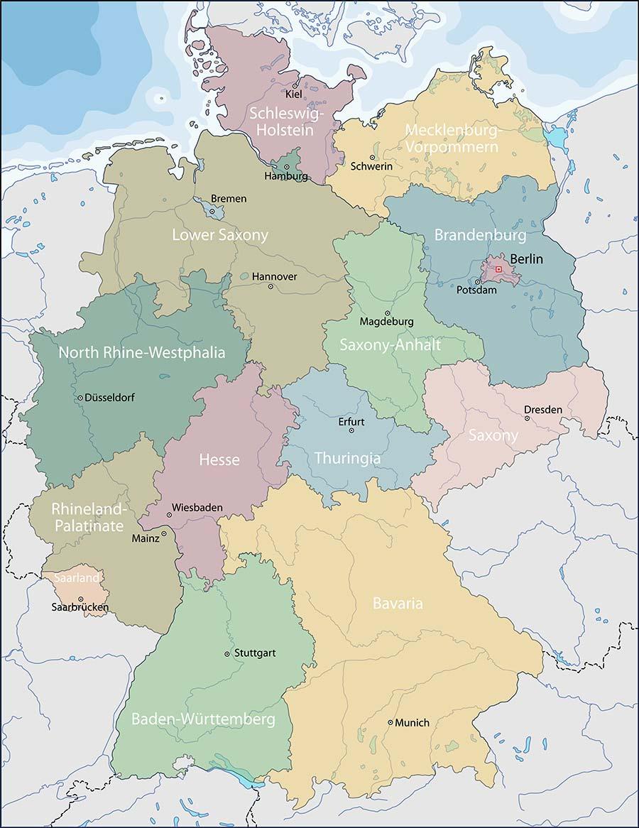 La Cartina Geografica Della Germania.Cartina Della Germania Scarica Cartina Della Germania In Hd Dati Da Europa