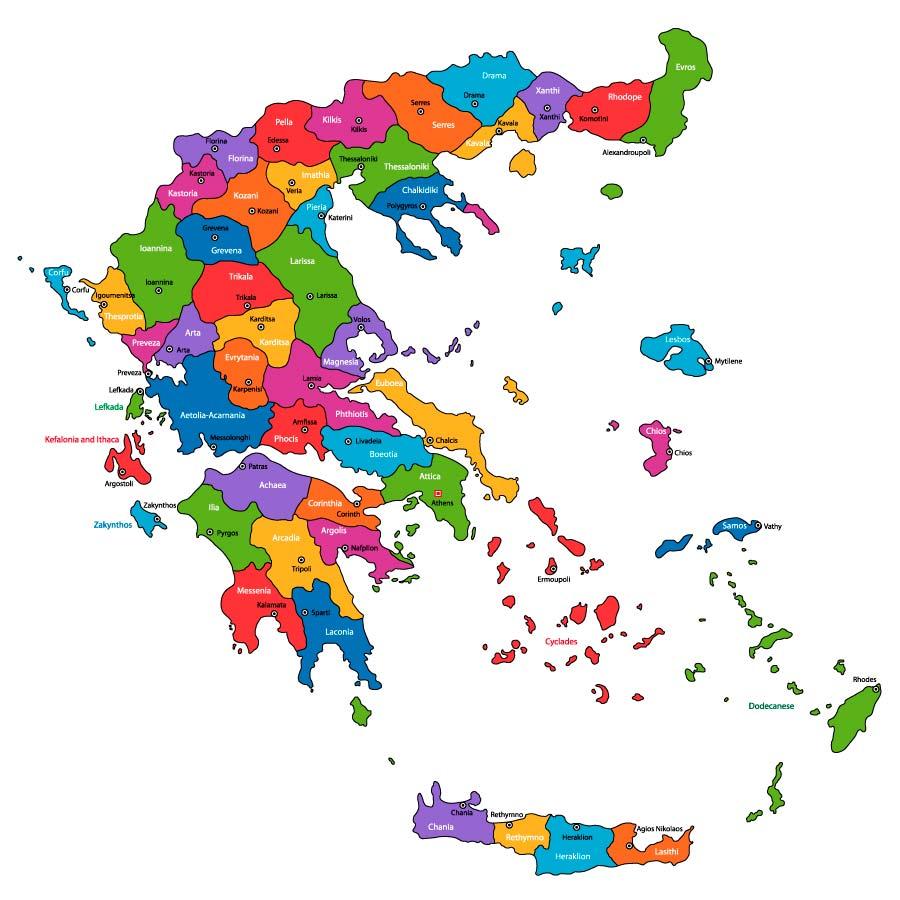 Mappa politica della Grecia