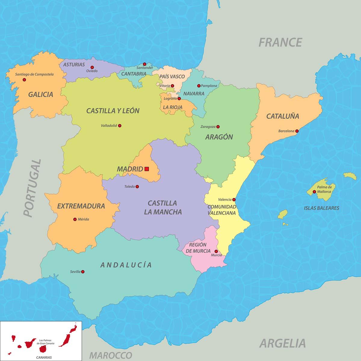 Cartina Spagna Con Regioni E Capoluoghi.Mappa Della Spagna Informazioni Generali Cartina Dati Europa