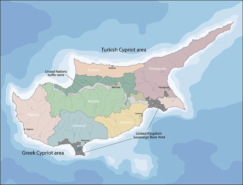 Mappa politica di Cipro