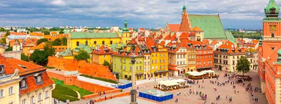 Vista della piazza del castello di Varsavia