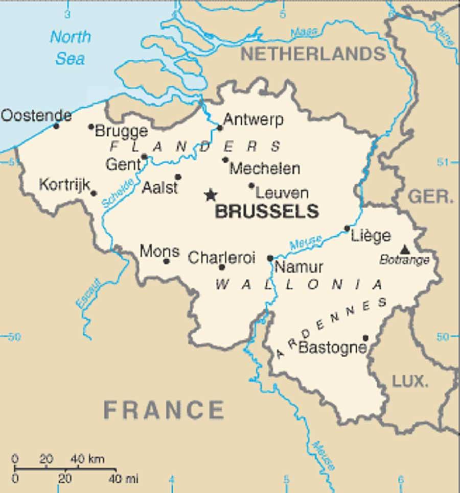 Mappa dei fiumi in Belgio