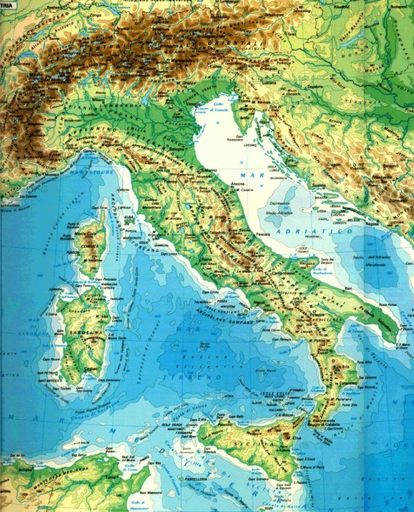 Mappa geografica di Italia