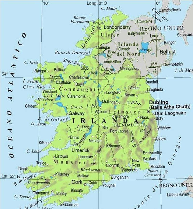 Mappa geografica di Irlanda