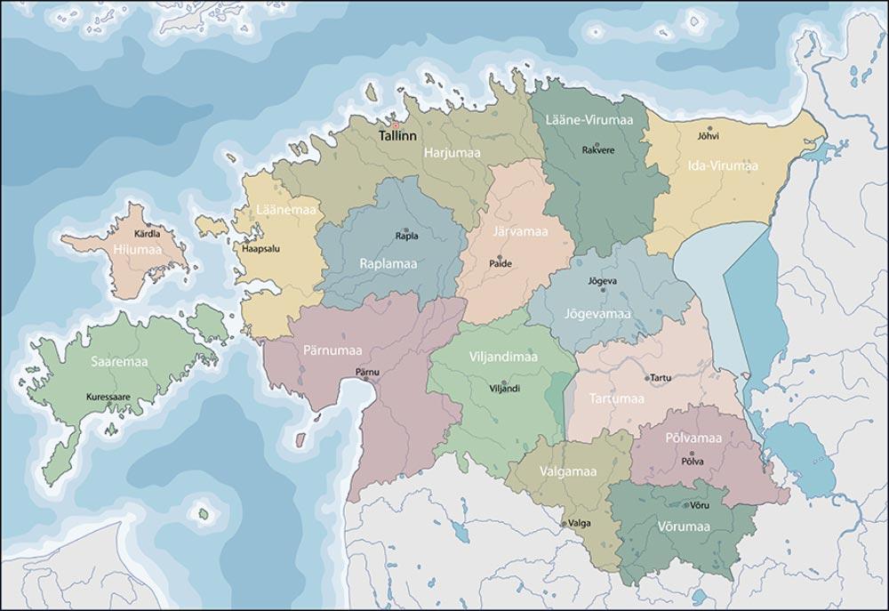 Mappa politica dell'Estonia