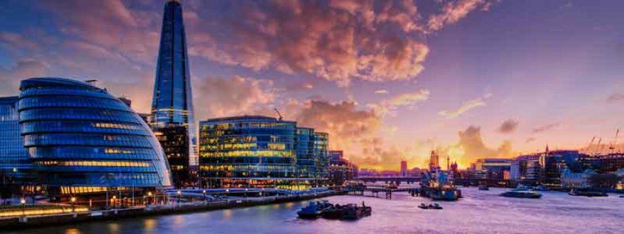 Vista Londra all'alba